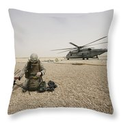 A Field Radio Operator Sets Throw Pillow by Stocktrek Images