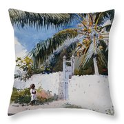 A Garden In Nassau Throw Pillow by Winslow Homer