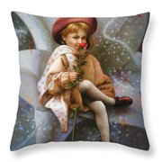 A Girl And A Fairy Of 7 Throw Pillow