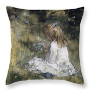 A Girl With Flowers On The Grass Throw Pillow