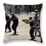 A Green Beret Walks With Tigres Throw Pillow