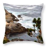 A Grey Day At Big Sur 2 Throw Pillow