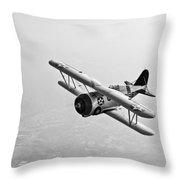A Grumman F3f Biplane In Flight Throw Pillow