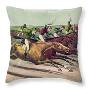 A Head And Head Finish  Throw Pillow
