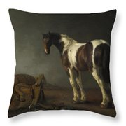 A Horse With A Saddle Beside It Throw Pillow