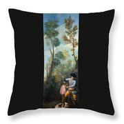 A Hunter Loading His Shotgun Throw Pillow