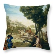 A Hunting Party Throw Pillow