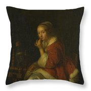A Lady At A Spinning Wheel Throw Pillow