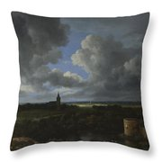 A Landscape With A Ruined Castle And A Church Throw Pillow