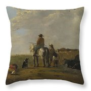 A Landscape With Horseman Herders And Cattle Throw Pillow