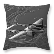 A Lockheed P-38 Lightning Fighter Throw Pillow