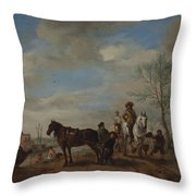A Man And A Woman On Horseback Throw Pillow