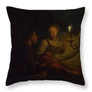 A Man Offering Gold And Coins To A Girl Throw Pillow