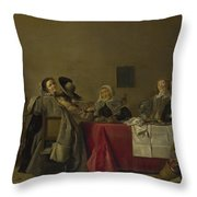 A Merry Company At Table Throw Pillow