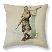 A Moorish Soldier Before A Sunlit Wall Throw Pillow