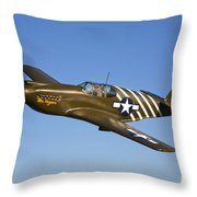 A P-51a Mustang In Flight Throw Pillow