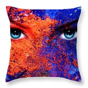 A Pair Of Beautiful Blue Women Eyes Beaming Color Earth Effect Painting Collage Violet Makeup Throw Pillow