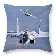 A Pair Of Bulgarian Air Force Mig-29s Throw Pillow
