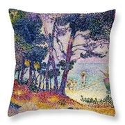 A Pine Grove Throw Pillow by Henri-Edmond Cross