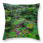 A Pretty Pond Full Of Lily Pads At A Water Temple In Bali. Throw Pillow