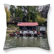 A Raft House Moored To The Shoreline Of Ada Medjica Islet Throw Pillow