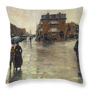 A Rainy Day In Boston Throw Pillow