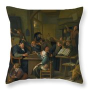 A Riotous Schoolroom With A Snoozing Schoolmaster Throw Pillow