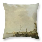 A River Scene With Distant Windmills Throw Pillow