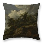 A Rocky Hill With Three Cottages A Stream At Its Foot Throw Pillow
