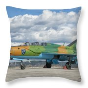 A Romanian Air Force Mig-21b Airplane Throw Pillow