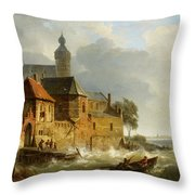 A Rowing Boat In Stormy Seas Near A City Throw Pillow