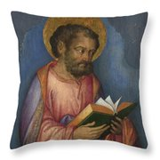 A Saint With A Book Throw Pillow