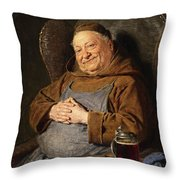 A Seated Monk With A Tankard Throw Pillow