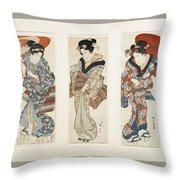 A Set Of Three Woodblock Prints Kakemono Throw Pillow