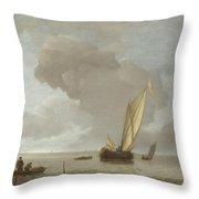A Small Dutch Vessel Before A Light Breeze Throw Pillow