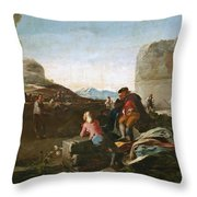 A Stickball Game Throw Pillow