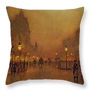 A Street At Night Throw Pillow by John Atkinson Grimshaw