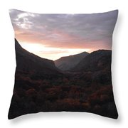 A Sunset View Through A Valley In The Southwest Foothills Of The Sierra Nevadas Throw Pillow