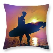 A Surfer Watching The Waves At Sunset Throw Pillow
