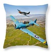 A T-6 Texan And P-51d Mustang In Flight Throw Pillow