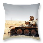 A T-80 Tank Destroyed By Nato Forces Throw Pillow