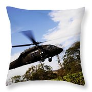 A U.s. Army Uh-60 Black Hawk Helicopter Throw Pillow