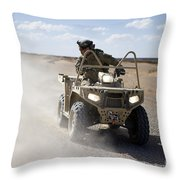 A U.s. Soldier Performs Off-road Throw Pillow