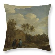 A View Of A Village Throw Pillow