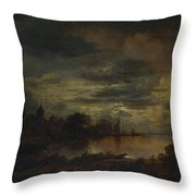 A Village By A River In Moonlight Throw Pillow