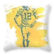 Aaron Rodgers Green Bay Packers Water Color Art 1 Throw Pillow