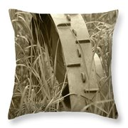 Abandoned Steel Farm Implement Wheel Throw Pillow
