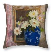 Abbott Graves 1859-1936 Flowers In A Blue Vase Throw Pillow
