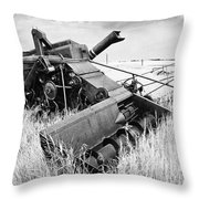 Abondoned Combine In Tall Grass Throw Pillow