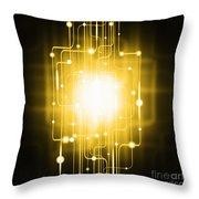 Abstract Circuit Board Lighting Effect  Throw Pillow by Setsiri Silapasuwanchai